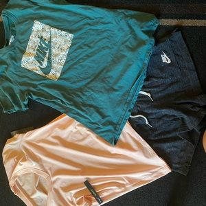 Nike bundle: 2 short sleeve shirts/ lounge shorts